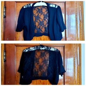 Plus Size Black Lace Cropped Cardigan